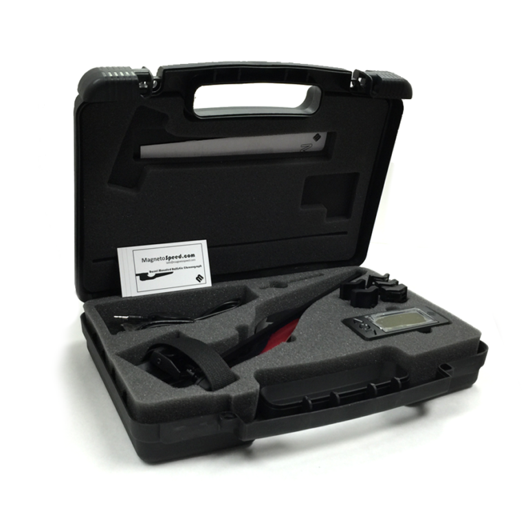 Carrying case and MagnetoSpeed V3 Ballistic Chronograph Kit