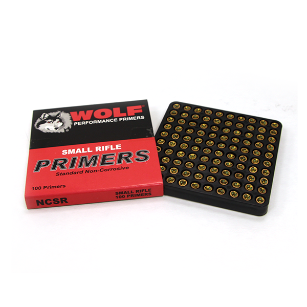 Opened case of 100 Wolf Performance Primers